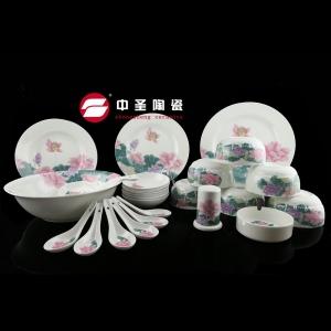 29头釉中彩荷莲餐具ZS0260