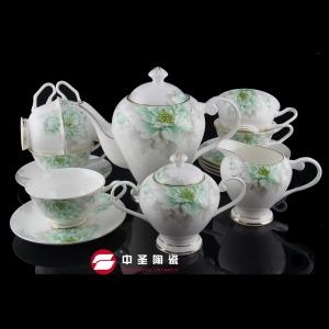 15头骨瓷绿霸茶具ZS00195