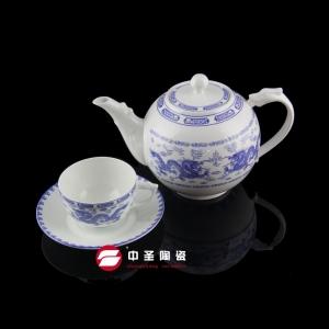13头骨瓷釉中彩青龙茶具ZS00240