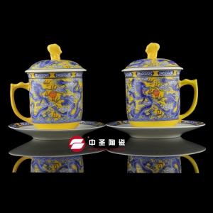 骨瓷釉中彩黄(青)龙双杯碟ZS00190