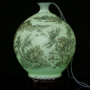 画家李杰陶瓷艺术作品《秋韵》   中圣青玉瓷天球瓶